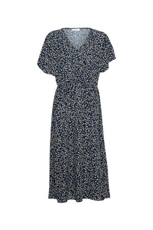 maxi jurk Karna Beach met all over print donkerblauw