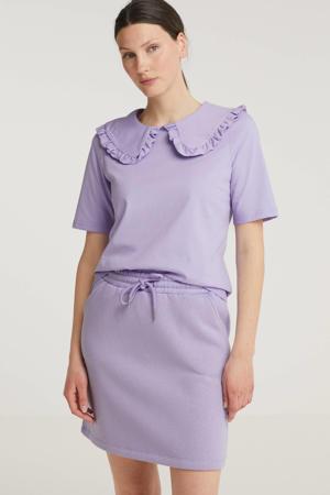T-shirt met ruches lila