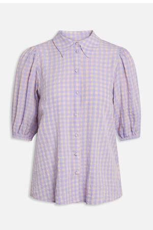 geruite blouse lila