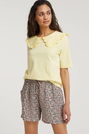 T-shirt met ruches lichtgeel