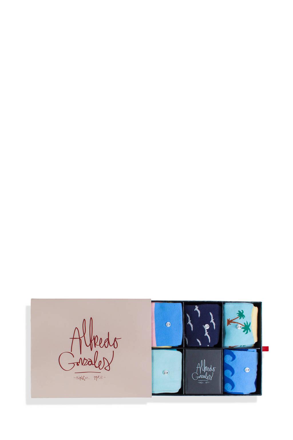 Alfredo Gonzales giftbox sokken The Beach - set van 5 multi, Multi