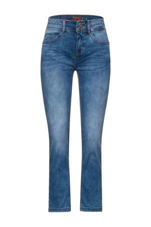 cropped straight fit jeans fresh blue acid wash