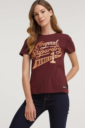 T-shirt Glitter Sparkle met printopdruk en glitters donkerrood