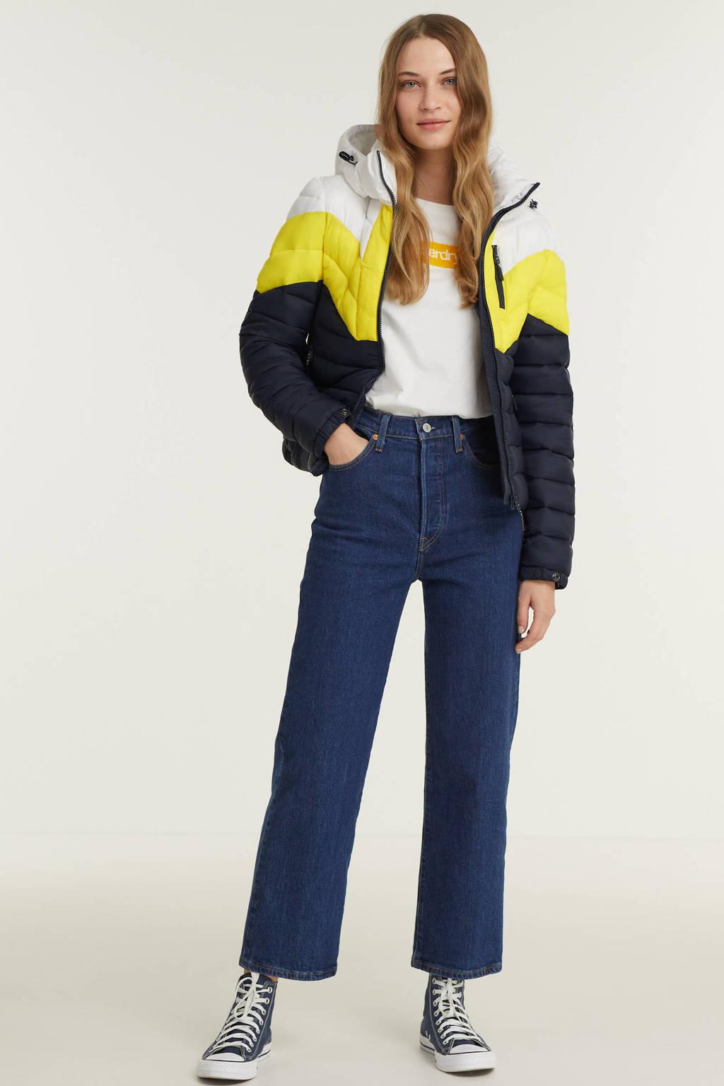 Superdry gewatteerde jas Colour Block Fuji donkerblauw/geel/wit, Donkerblauw/geel/wit