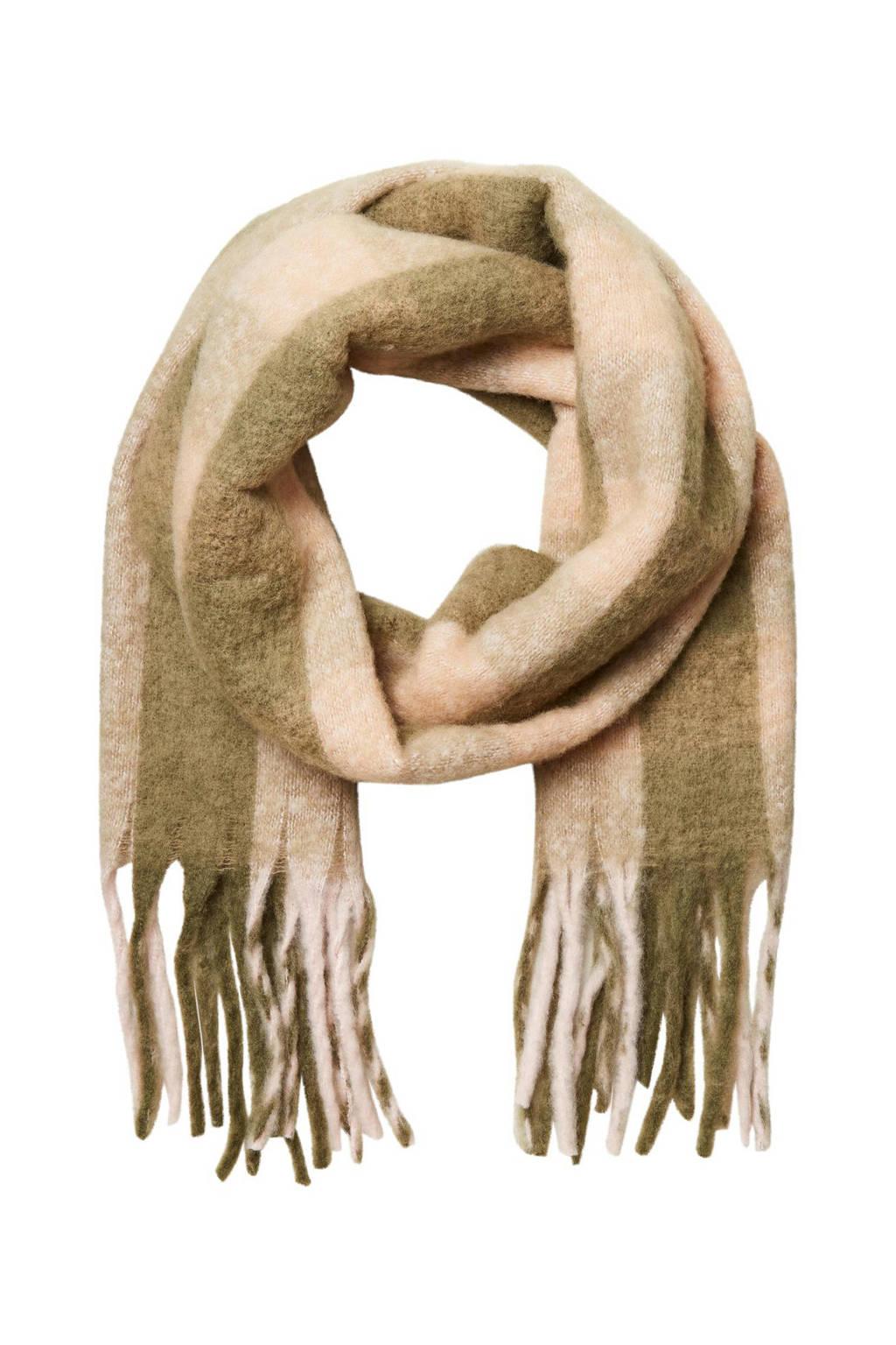 SELECTED FEMME geruite sjaal SLFTALLY groen/lichtroze, Groen/lichtroze