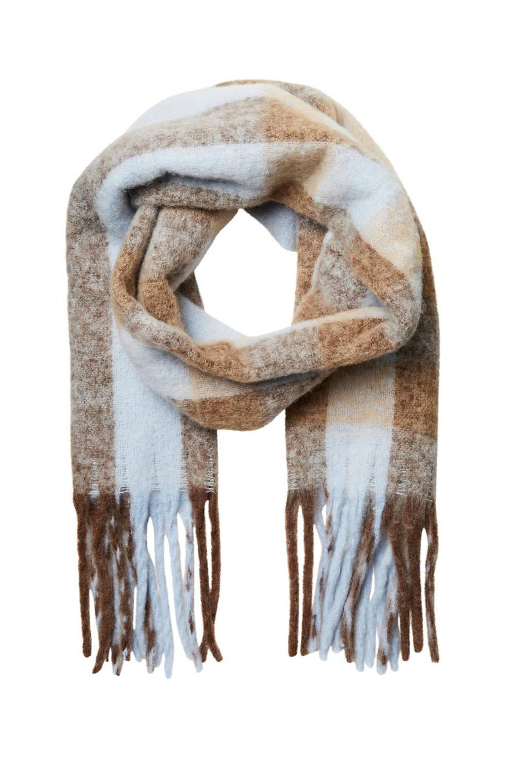 SELECTED FEMME geruite sjaal SLFTALLY lichtblauw/bruin, Lichtblauw/bruin