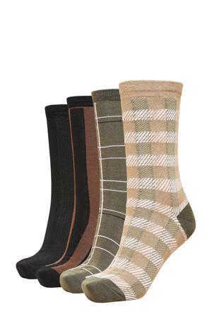 giftbox sokken SLFANNA - set van 4 zwart/beige