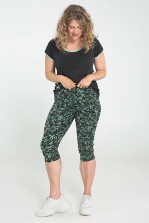 Plus Size sportcapri met all over print zwart/groen