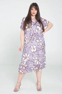 PROMISS gebloemde semi-transparante maxi jurk lila/ecru/roodbruin, Lila/ecru/roodbruin