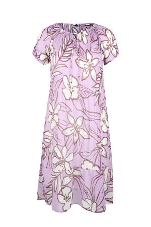 gebloemde semi-transparante maxi jurk lila/ecru/roodbruin
