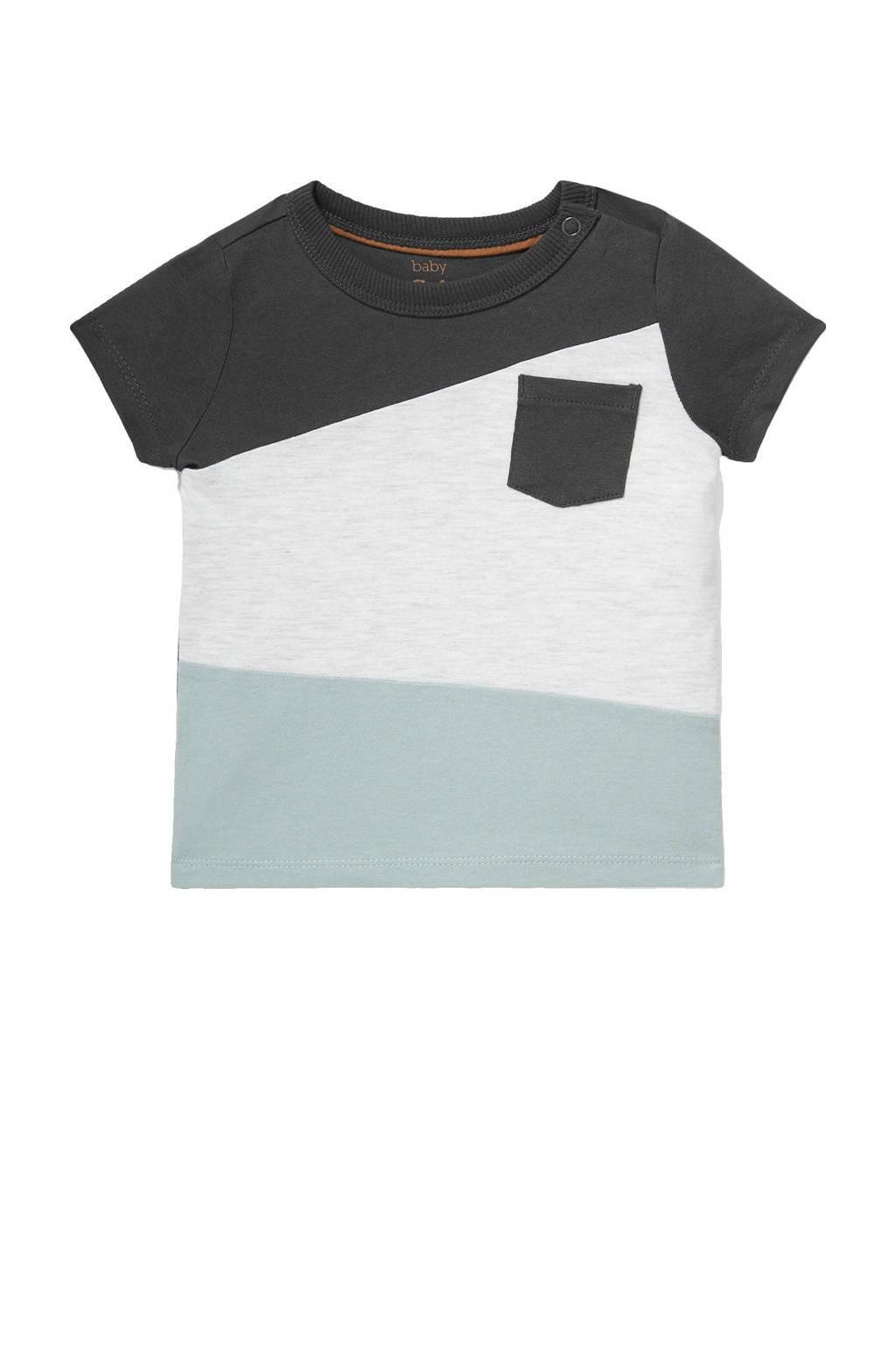C&A Baby Club T-shirt van biologisch katoen antraciet/wit/lichtblauw, Antraciet/wit/lichtblauw