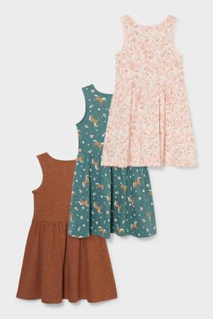 jurk - set van 3 bruin/groen/beige