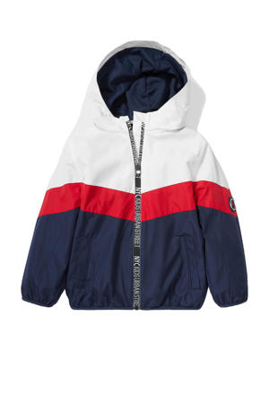 zomerjas met contrastbies wit/donkerblauw/rood