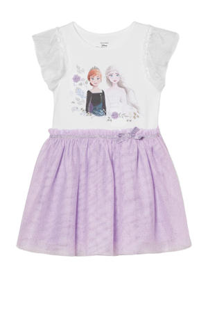 Frozen Sister Forever jurk met printopdruk en glitters wit/lila