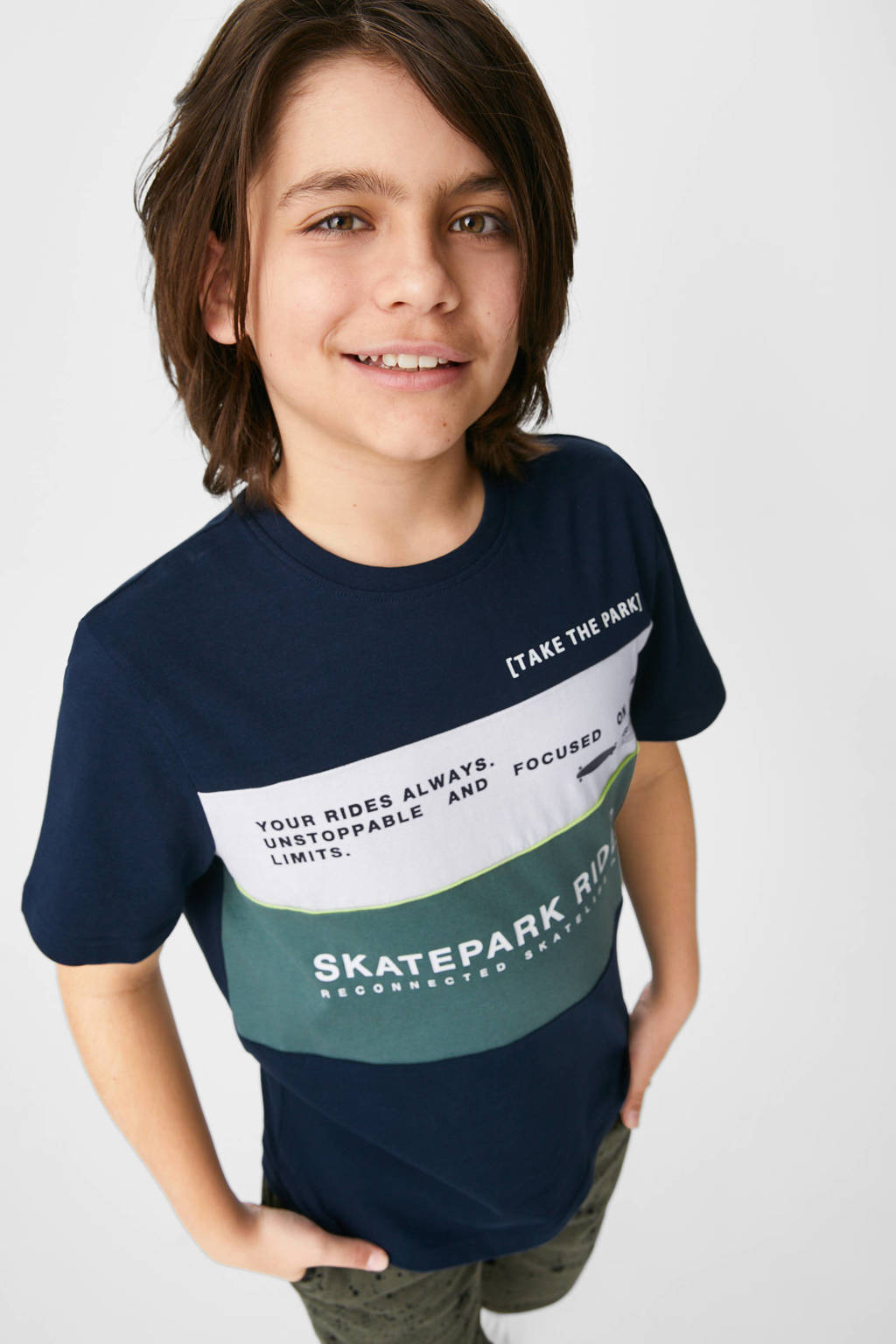 C&A Skate Nation T-shirt van biologisch katoen donkerblauw/wit/groen, Donkerblauw/wit/groen