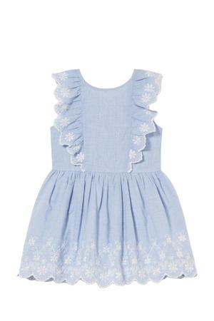 jurk met borduursels lichtblauw/wit