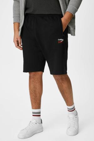 regular fit sweatshort met tekst zwart