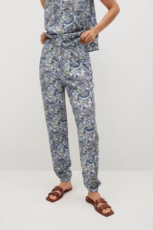regular fit broek met paisleyprint lichtblauw/groen/ecru