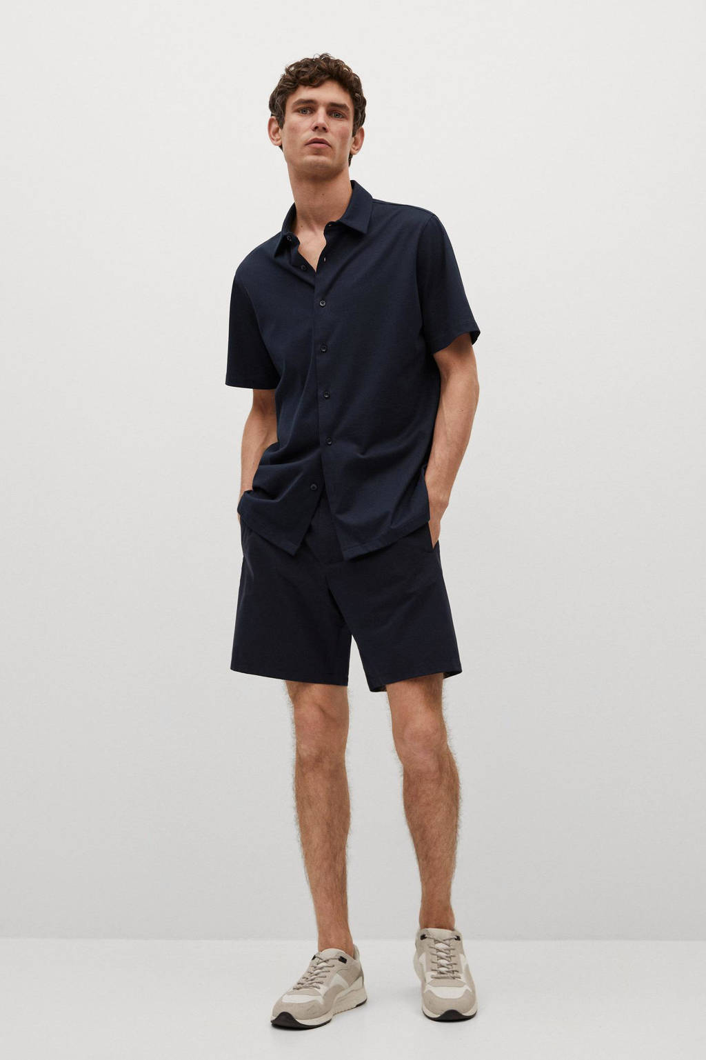 Mango Man regular fit overhemd donkerblauw, Marine