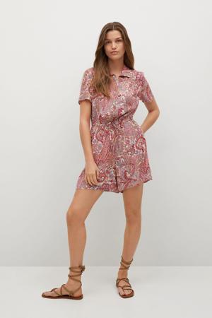 jumpsuit met paisleyprint rood/ecru/roze