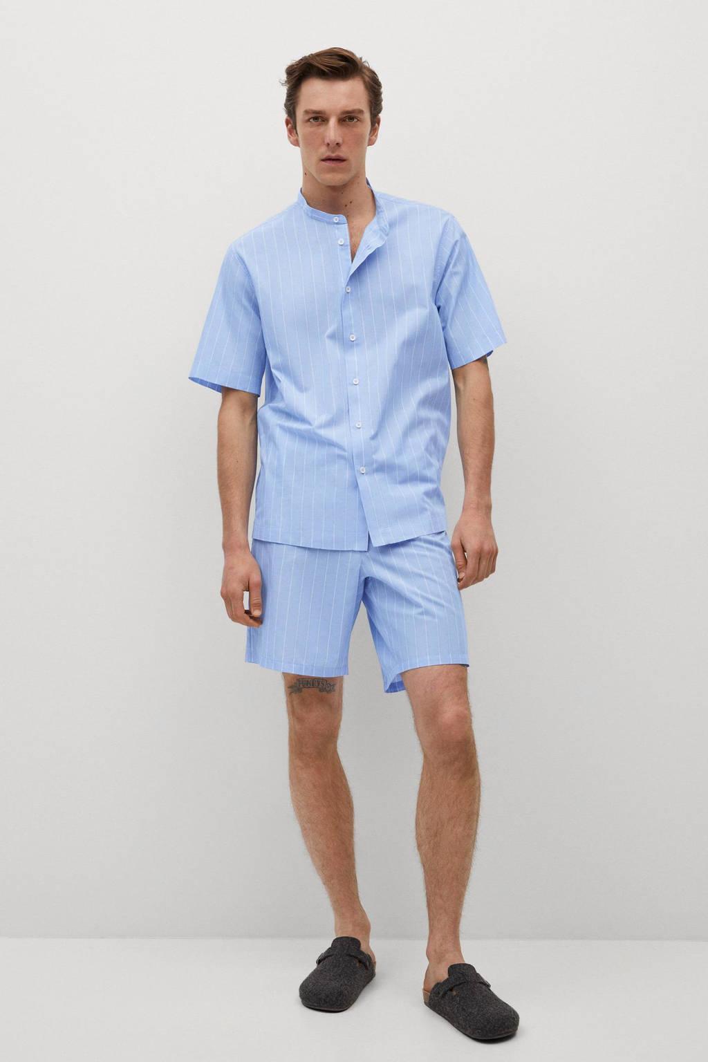 Mango Man gestreepte pyjamashort lichtblauw/wit, Lichtblauw/wit