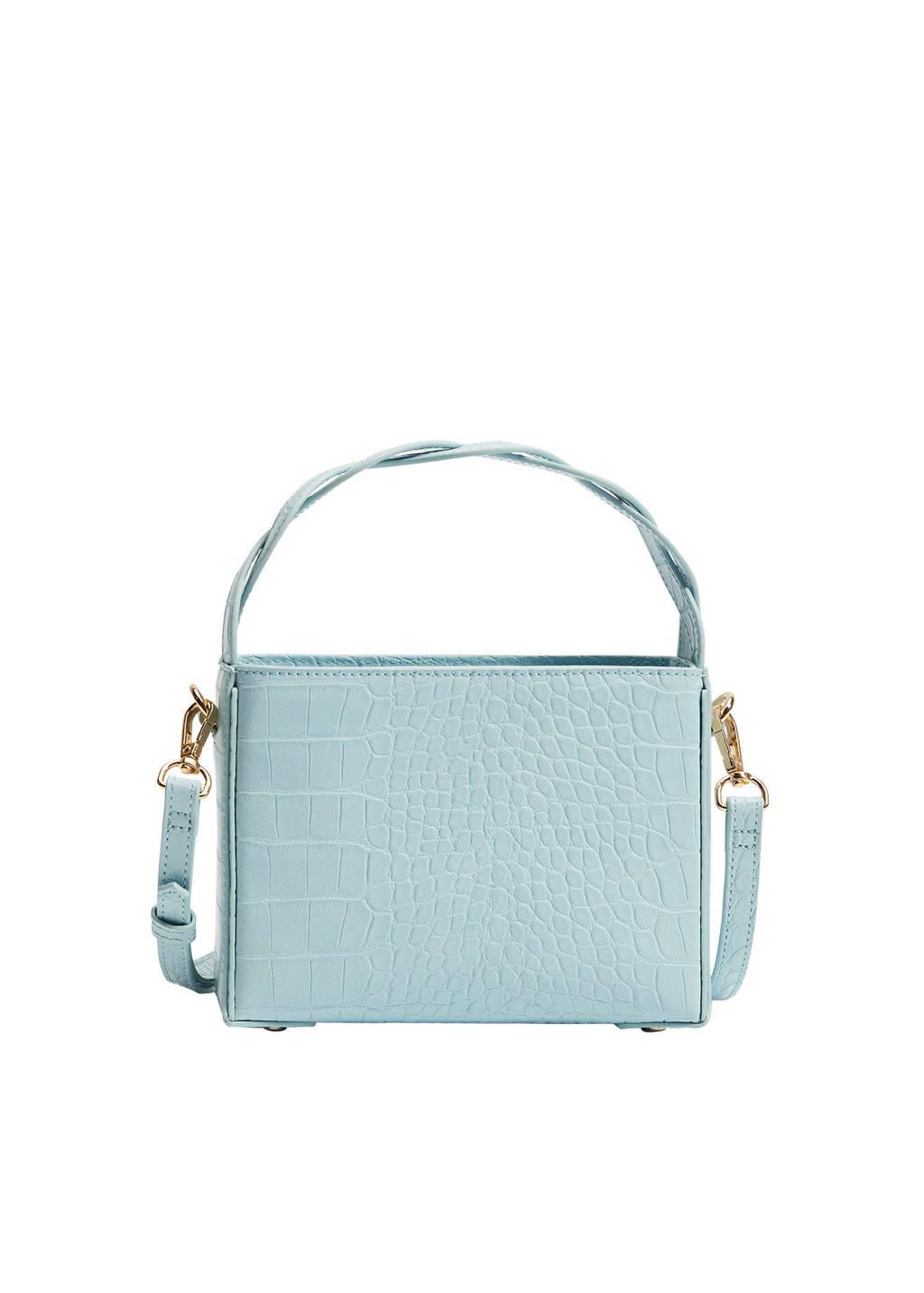 Mango  crossbody tas met crocoprint lichtblauw, Lichtblauw
