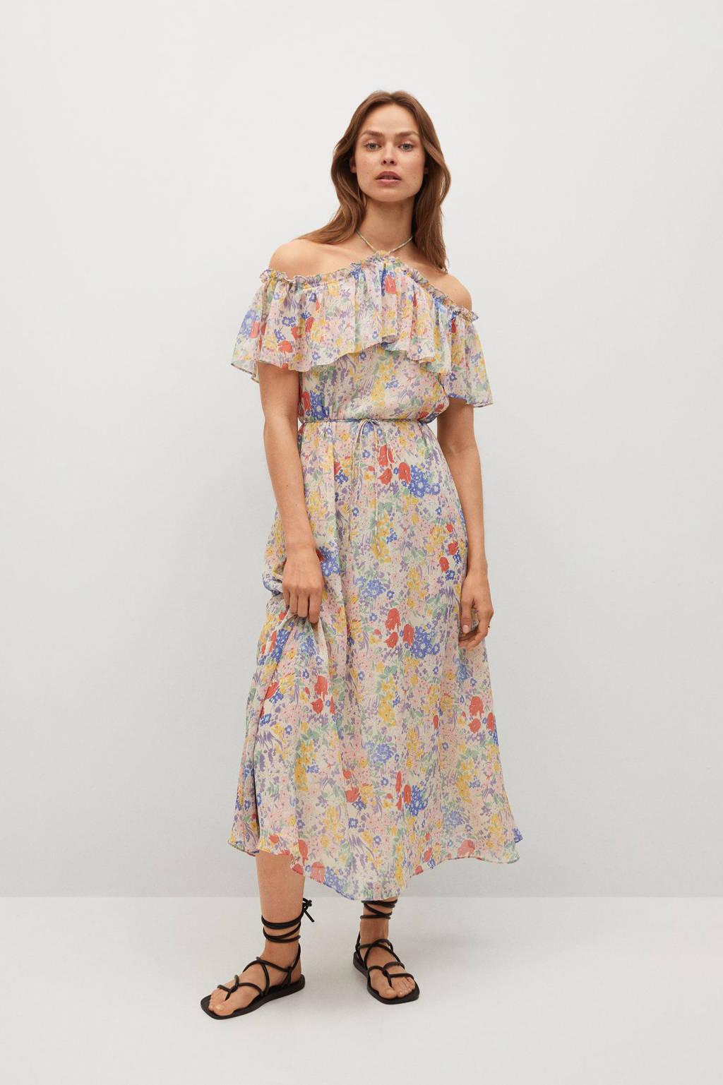 Mango gebloemde semi-transparante halter jurk lichtroze/blauw/geel, Lichtroze/blauw/geel