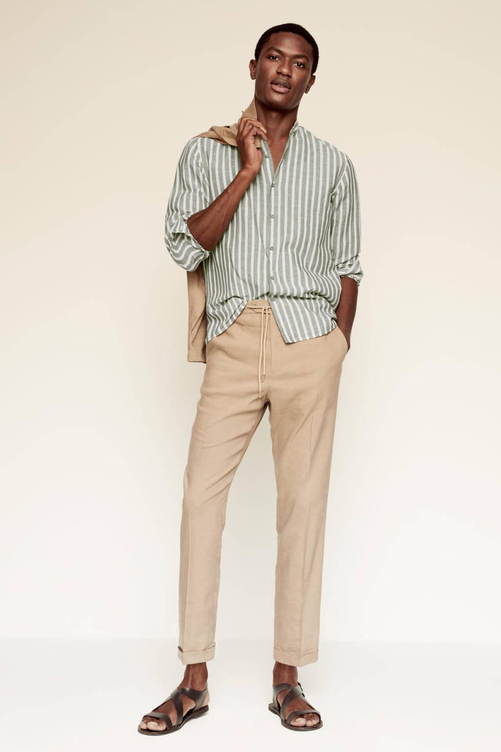 Mango Man gestreept regular fit overhemd kaki/wit