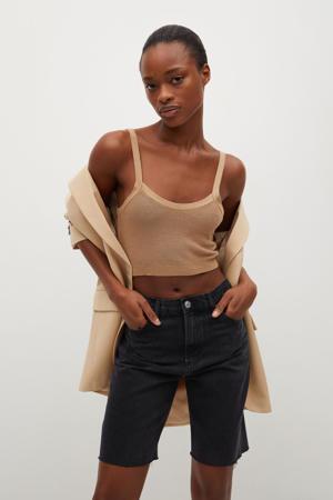 high waist straight fit bermuda antraciet