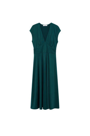 A-lijn jurk met plooien petrol