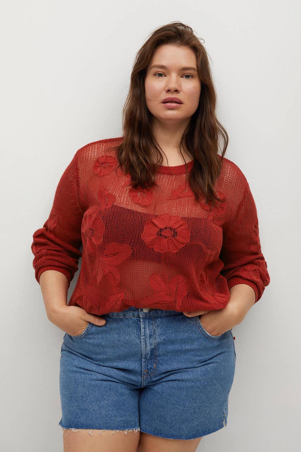Violeta by Mango trui met borduursels rood, Rood