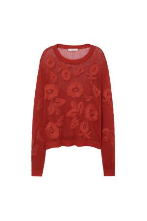 hoodie met borduursels rood
