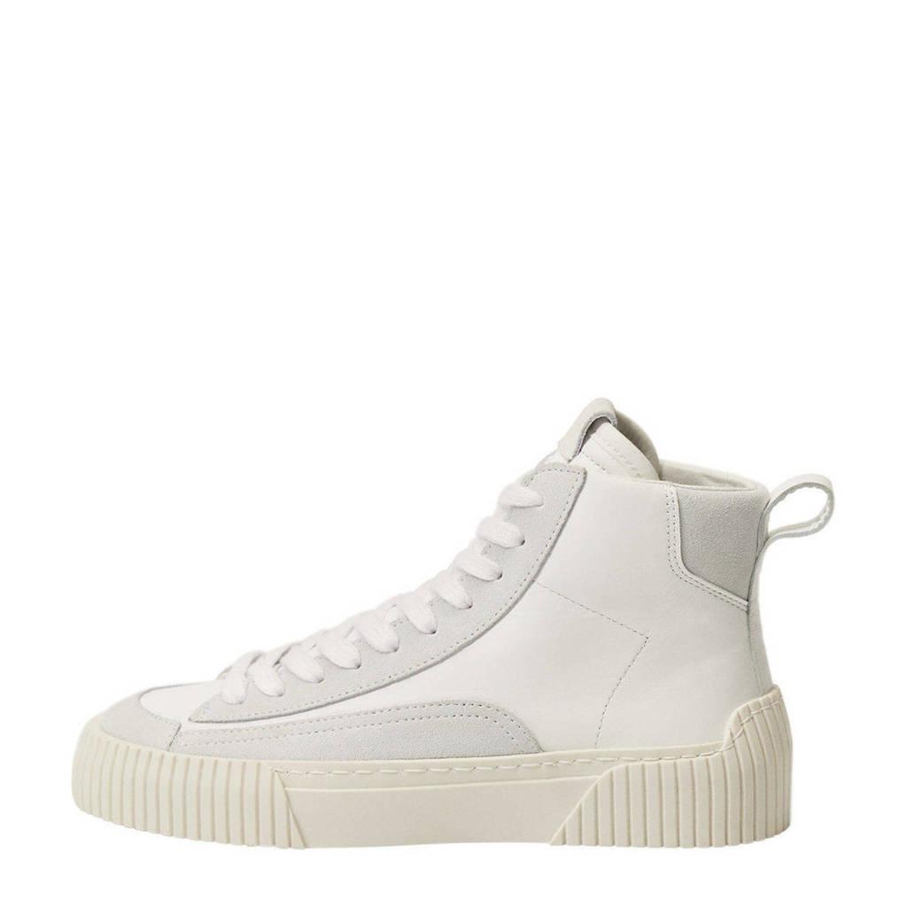 Mango   hoge leren sneakers wit, Wit