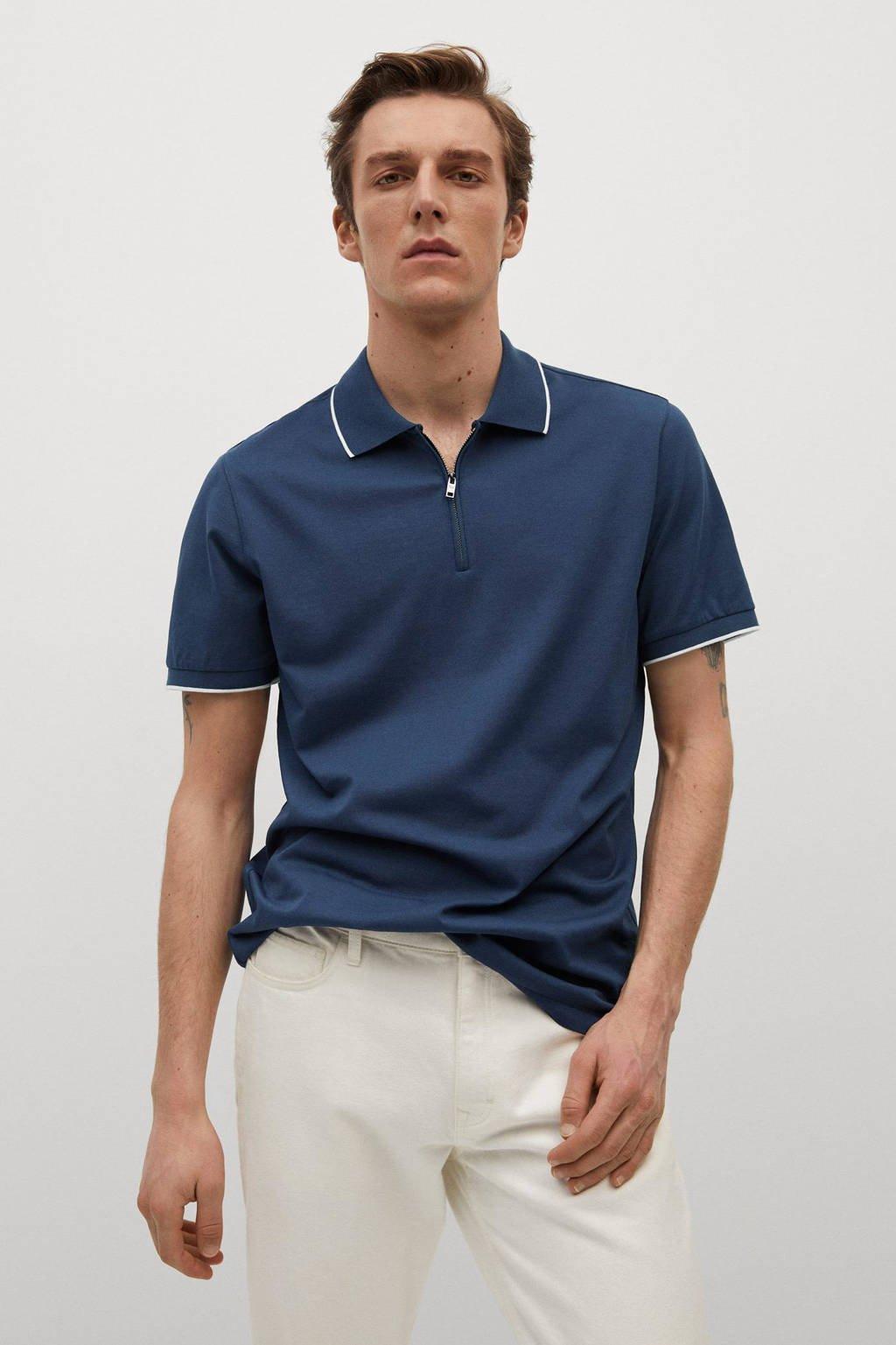 Mango Man regular fit polo blauw, middenblauw
