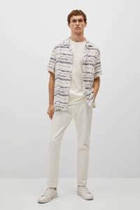 Mango Man regular fit overhemd beige/blauw, Beige/blauw