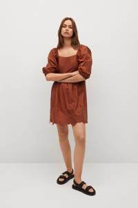 Mango jurk met plooien roodbruin, Roodbruin