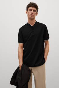 Mango Man regular fit polo met contrastbies zwart, Zwart