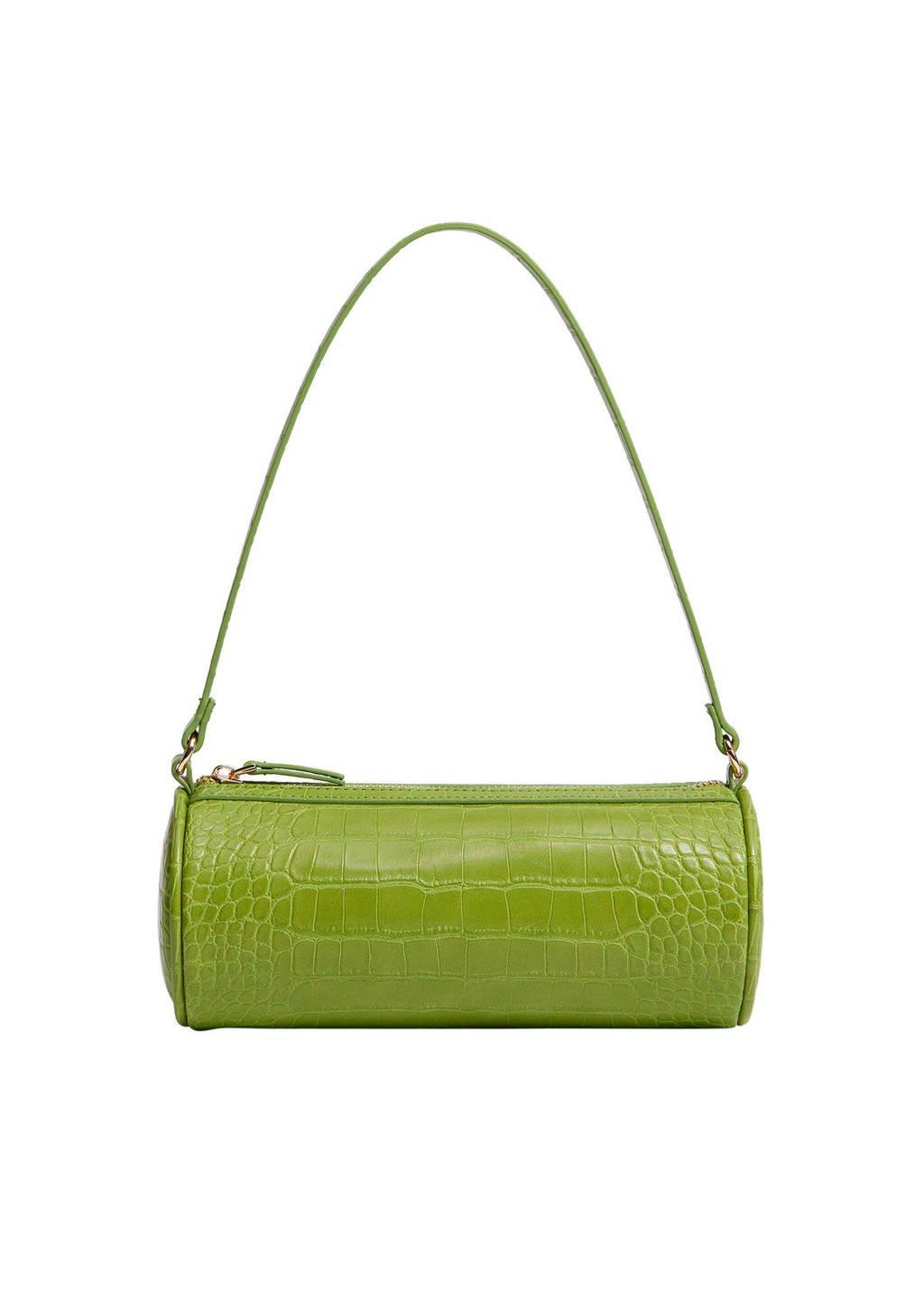 Mango  schoudertas met crocoprint groen, Groen