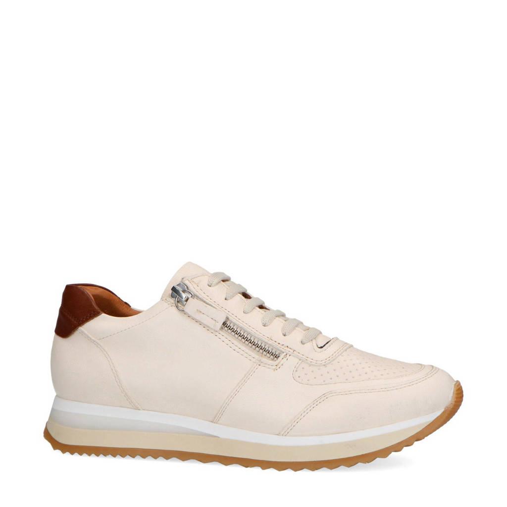Manfield   leren sneakers wit, Wit/bruin