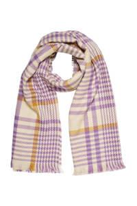 VERO MODA geruite sjaal VMMANILLA paars/beige, Paars/beige