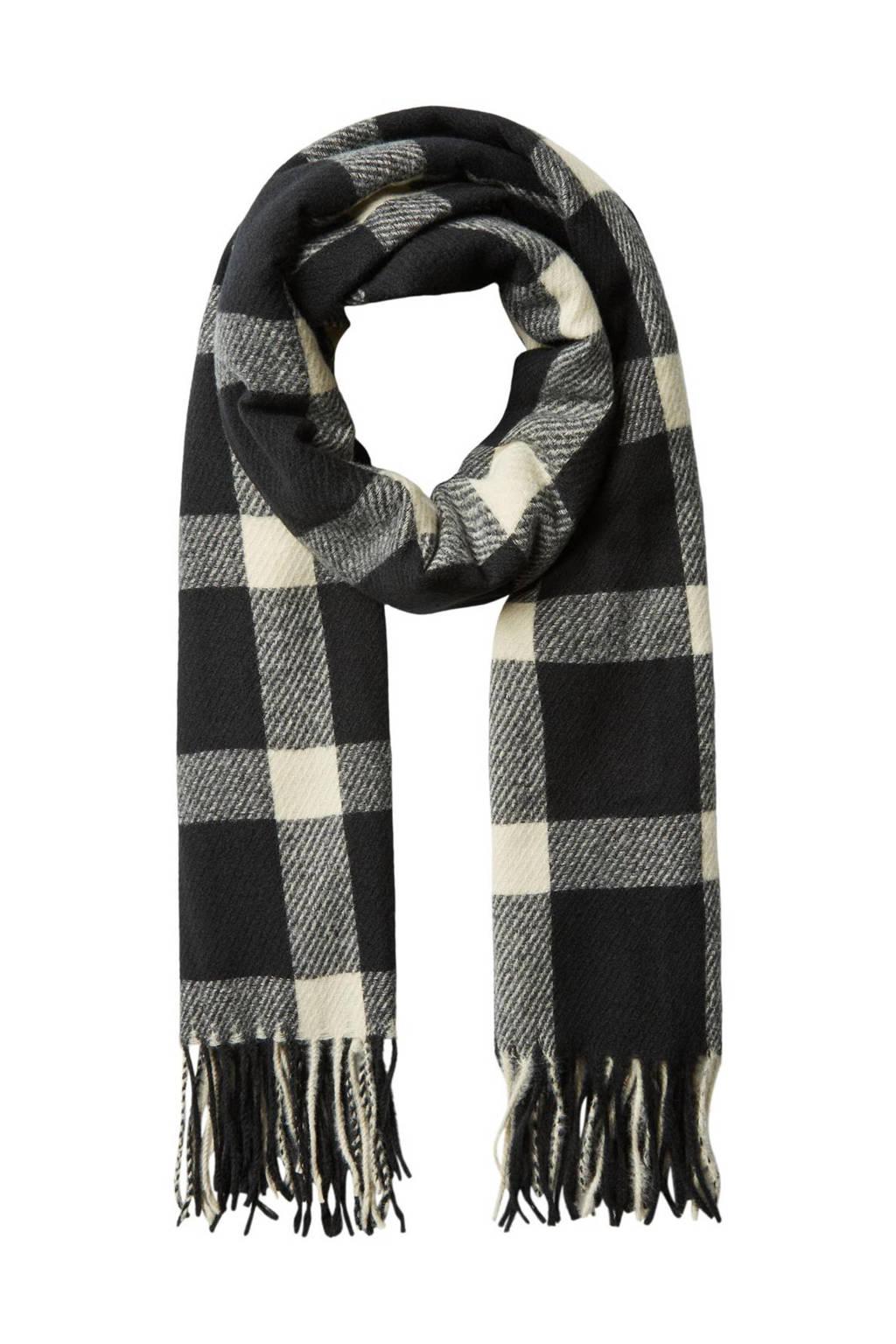 VERO MODA geruite sjaal VMDABIA zwart/ecru, Zwart/ecru