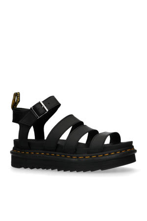 Blaire Brando  leren plateau sandalen zwart