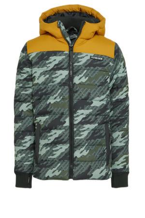 winterjas met camouflageprint army groen