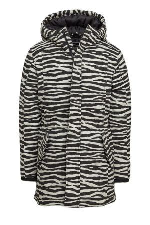 winterjas met zebraprint zand/zwart