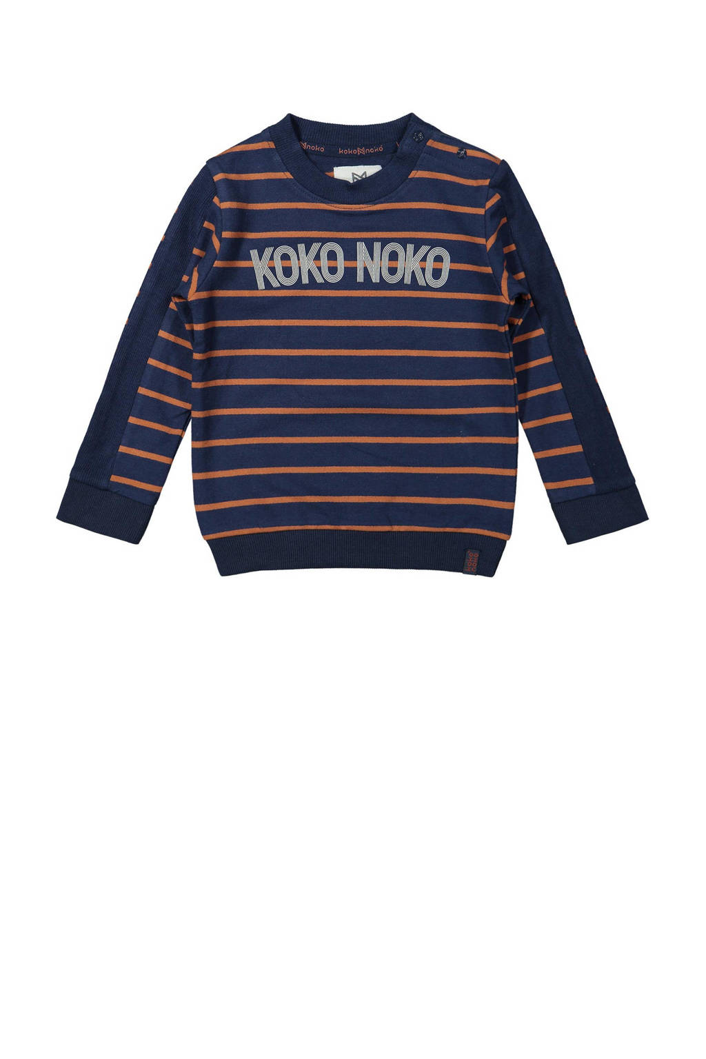 Koko Noko sweater met logo donkerblauw/camel, Donkerblauw/camel