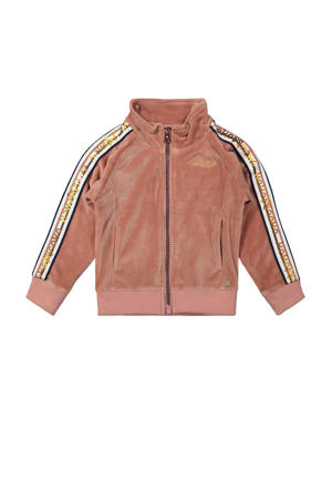 velours vest met contrastbies roze