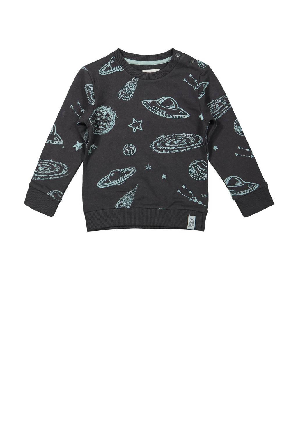 Koko Noko sweater met all over print antraciet/blauw, Antraciet/blauw