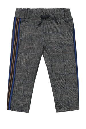 geruite broek met zijstreep grijs/blauw