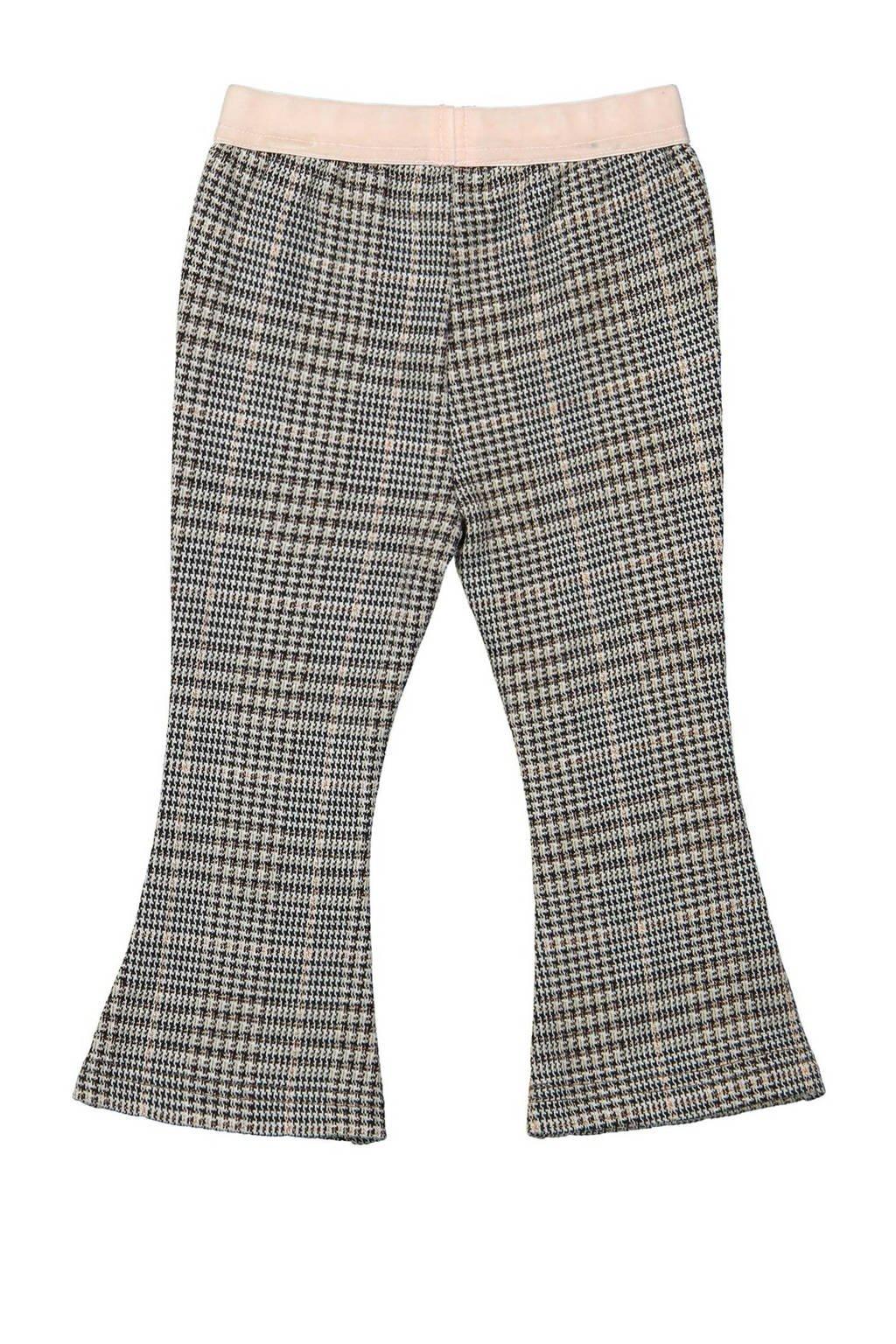 Koko Noko geruite flared broek zwart/wit/lichtroze, Zwart/wit/lichtroze