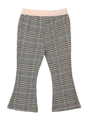 geruite flared broek zwart/wit/lichtroze